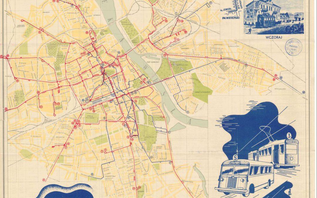 Plan sieci tramwajów i autobusów m. st. Warszawy 1938 r.