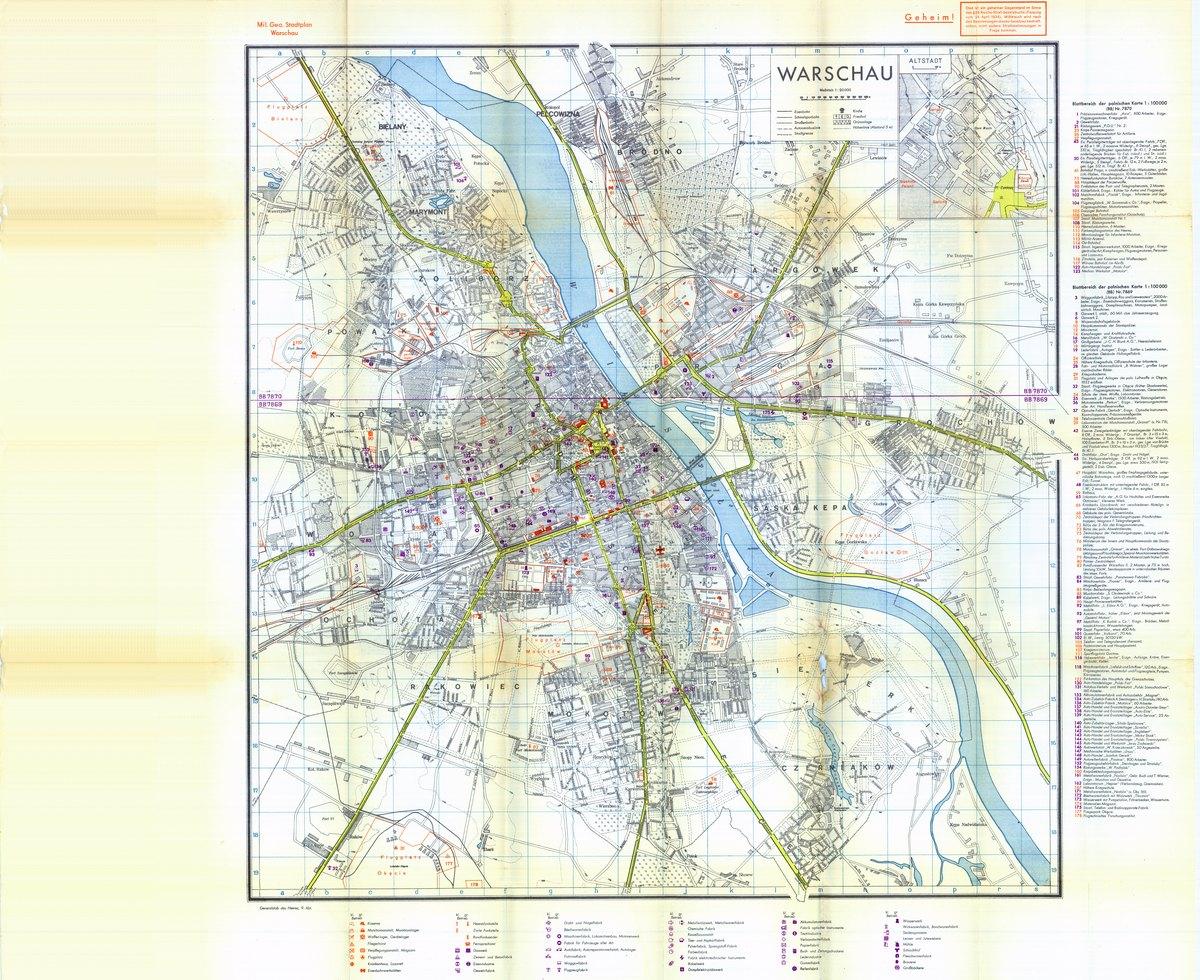 Niemiecka Mapa Warszawy 1939 R Plan W Skali 1 20k Stare Mapy