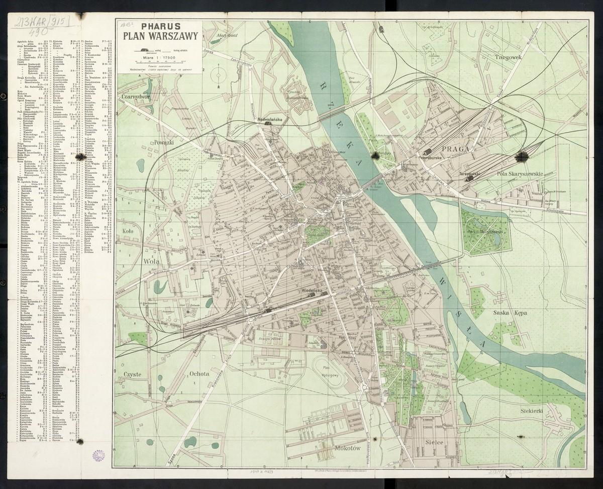 Pharus Plan Warszawy 1915 R Stare Mapy Warszawy I Okolic