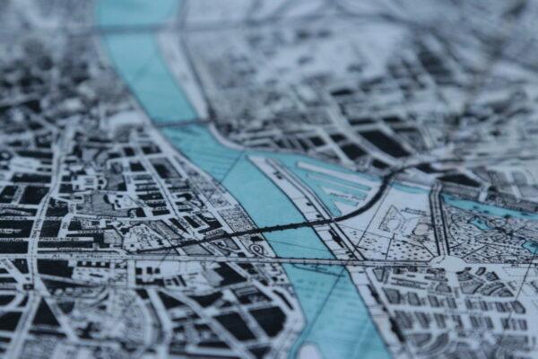 Fragment wydruku starej mapy Warszawy