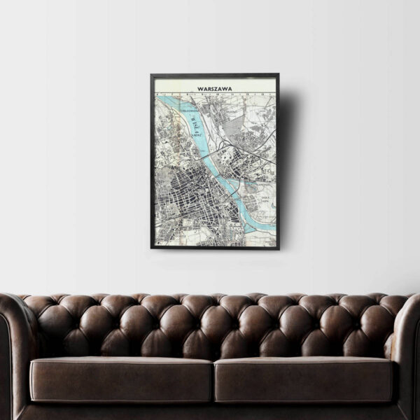 Stara mapa Warszawy na ścianę