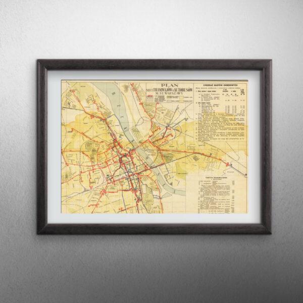 Oprawiona mapa Warszawy
